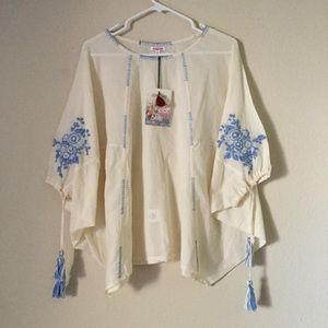 Johnny Was Uma Embroidered Tunic Top NWT